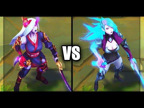 Blood Moon Katarina vs Death Sworn Katarina Epic Skins Comparison (League of Legends)