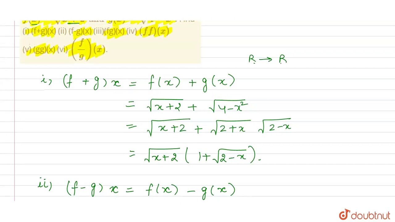 Let f and g be real functions, defined by `f(x)=sqrt(x+2 ...