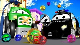 The MARBLES MYSTERY with The Car Patrol : Fire Truck and Police Car and THE TRACTOR   Cars