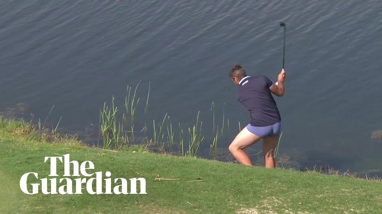 16da7155d18010 Portugal Masters golfer plays water shot in underwear – video | Sport | The  Guardian