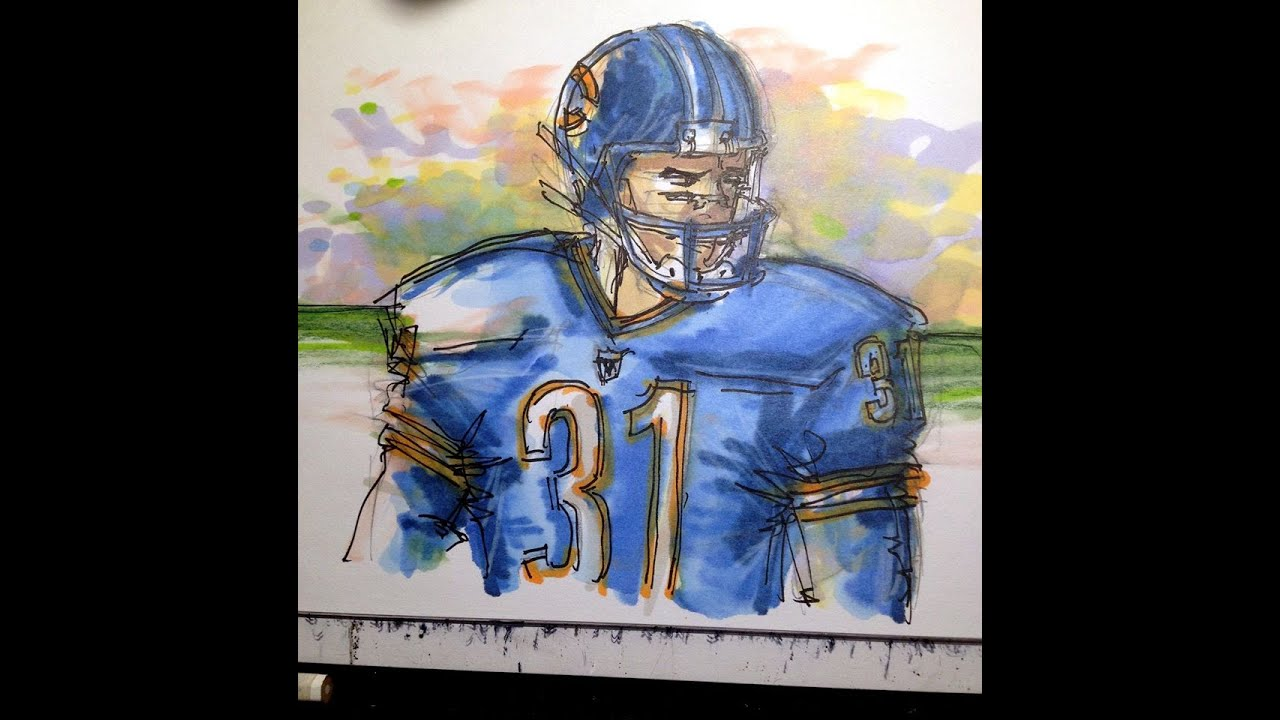 Running Nfl Football Players Drawings: Sports Series: NFL Football Player
