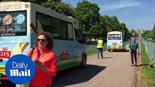 Royal wedding: Procession of ice cream vans turn up in Windsor - Daily Mail