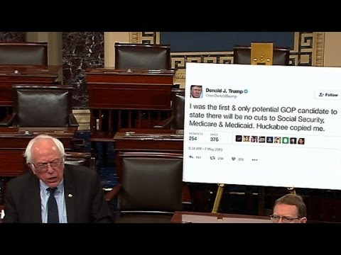 Bernie Sanders brings giant poster of Trump tweet to Senate floor