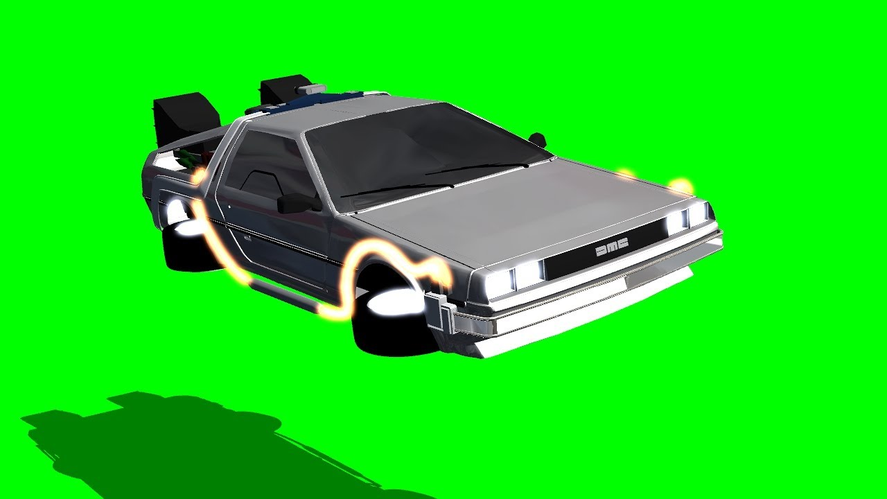 Back To The Future Delorean Fly By On Green Screen