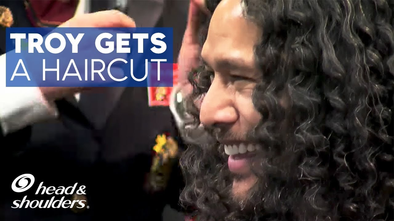 troy polamalu gets his hair cut by veterans youtube