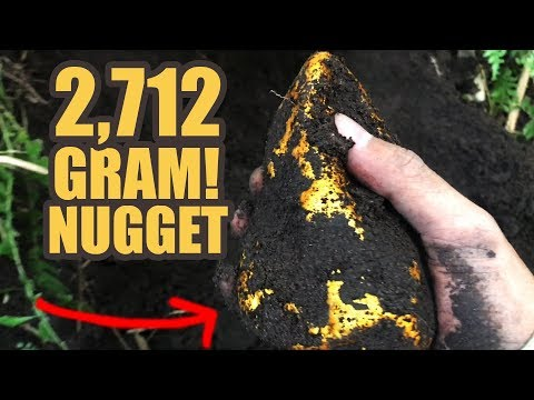 Extracting Insanely HUGE 2712-Grams of volcanic GOLD NUGGET