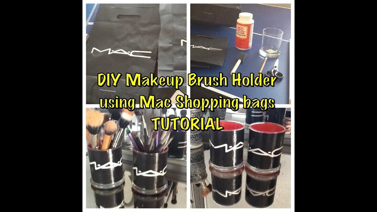 DIY Makeup Brush Holder Using Mac Shopping Bags (tutorial ...