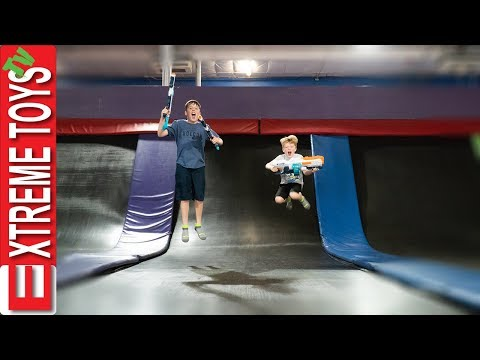 Trampoline Park X-Shot Blaster Showdown! Sleepy Sneak Attack Squad.