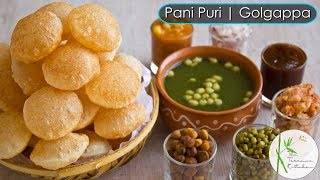 Pani Puri | Golgapa Recipe with Teekha Pani, Sweet Chutney and Stuffing ~ The Terrace Kitchen