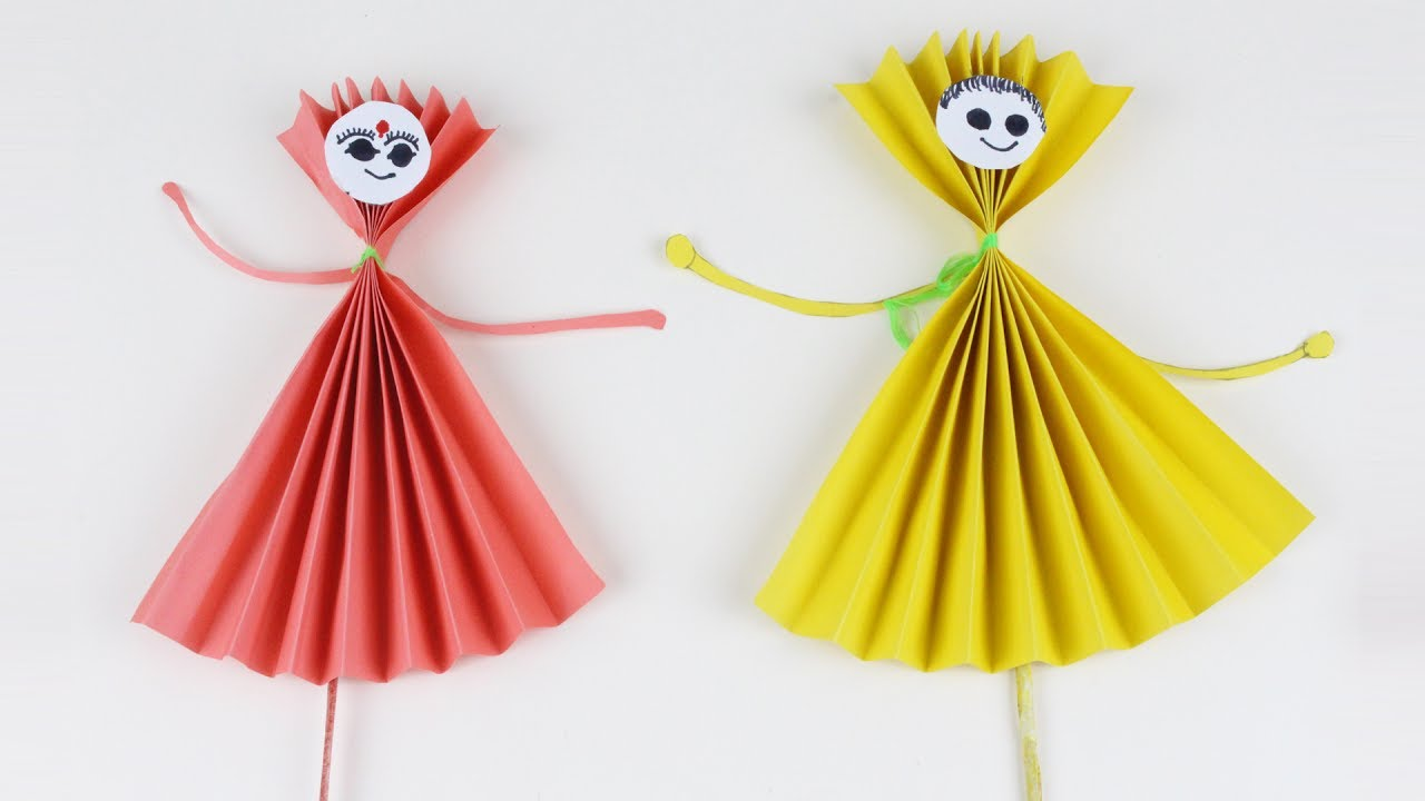 Origami Red And Yellow Paper Dolls How To Make Paper Doll Easy