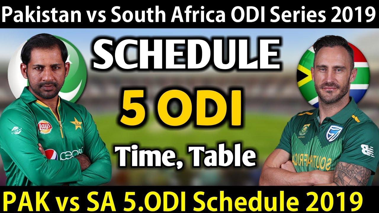 Pakistan vs South Africa ODI Series 2019 Schedule || PAK ...