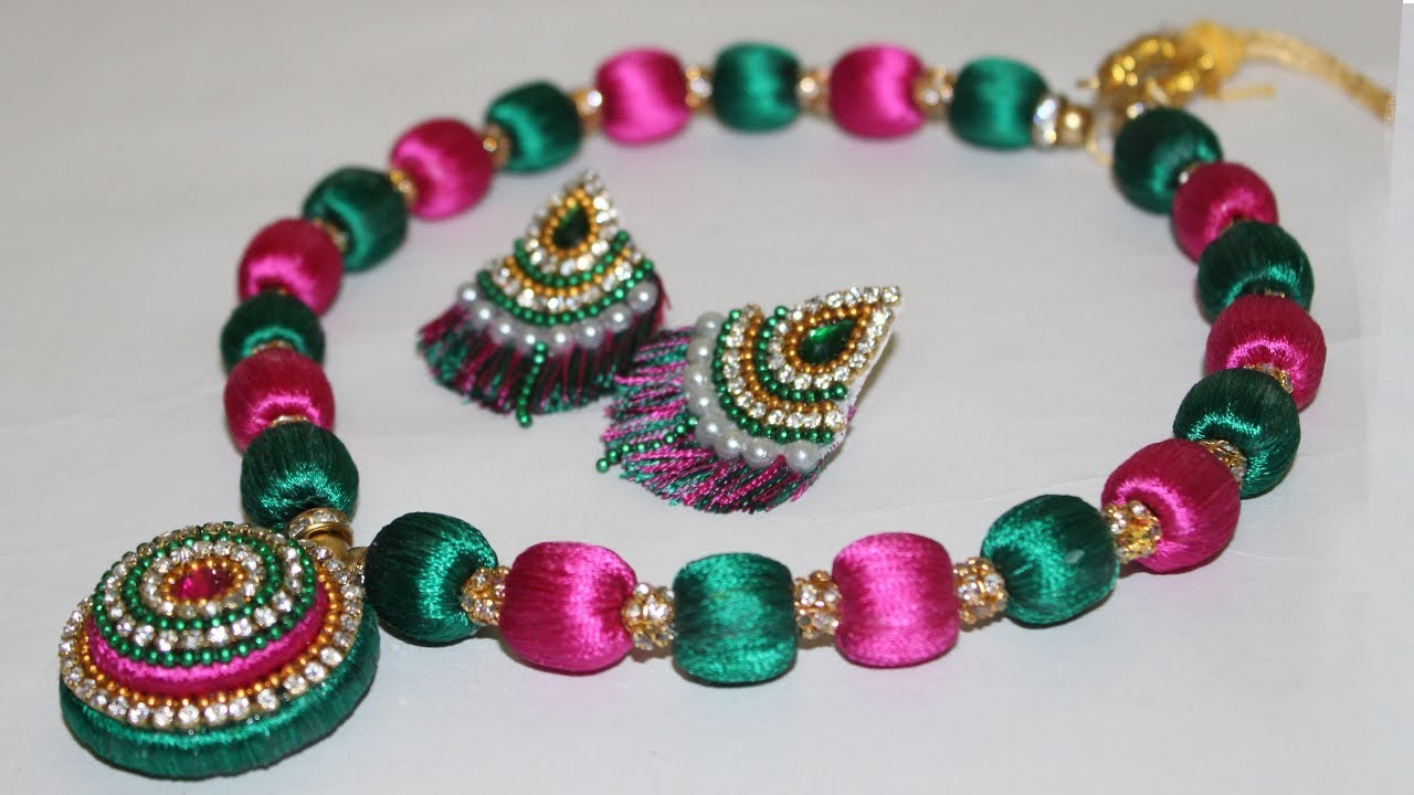 Silk Thread Beaded Necklace Making at HOME (DIY) | Jewellery ...