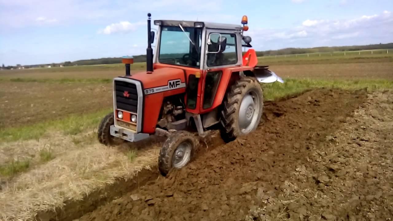 MASSEY FERGUSON 575 + LANDSBERG ploughing oranje orka orba Pflügen - YouTube