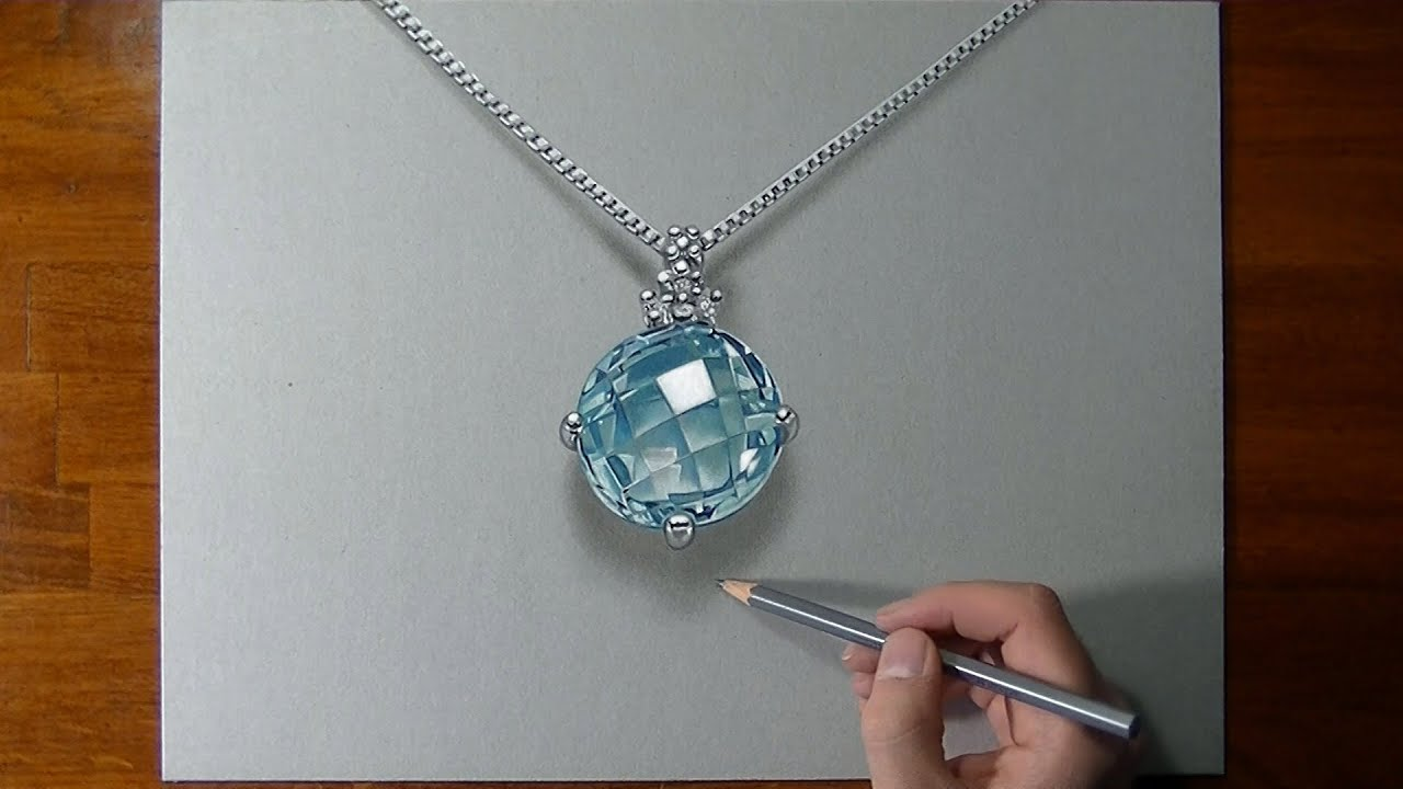How I Draw An Aquamarine Necklace Youtube