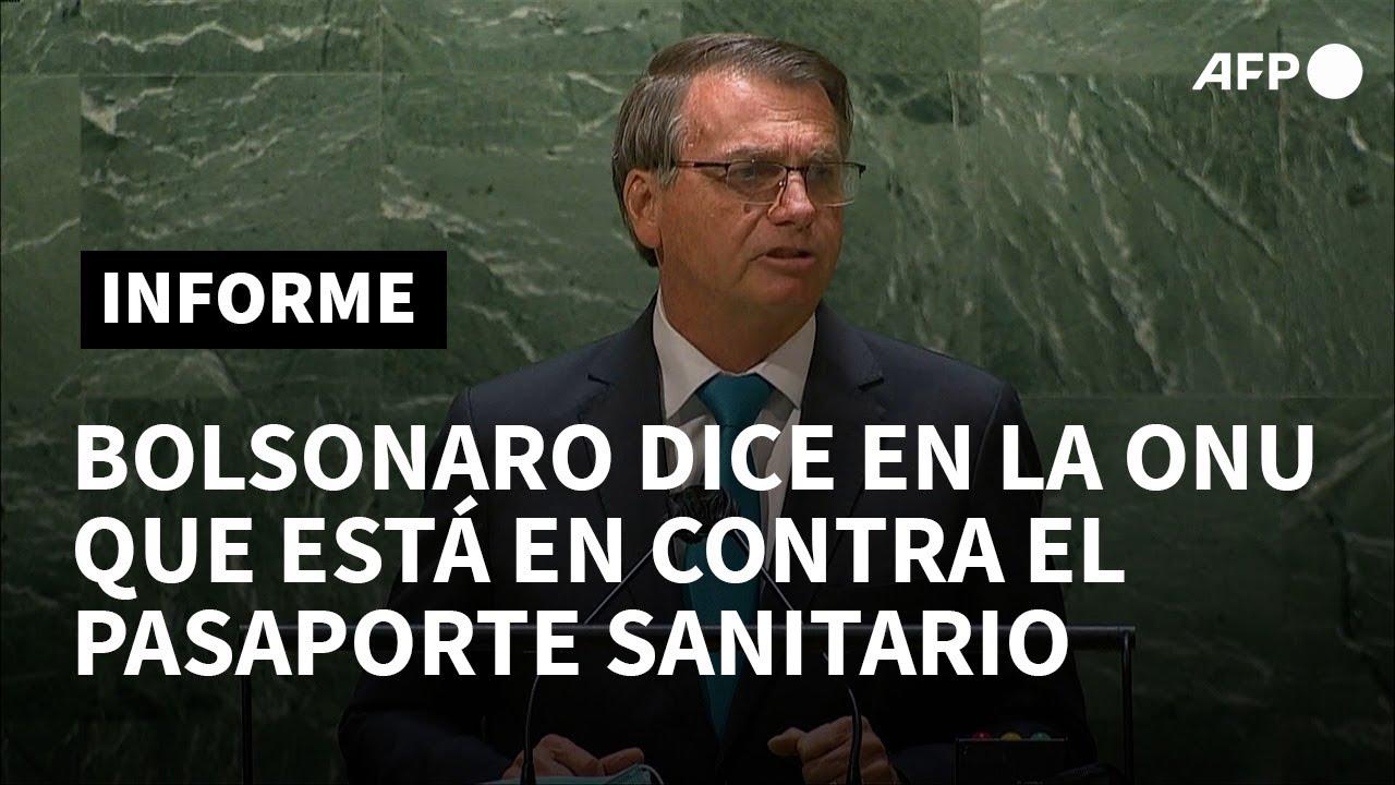 Download Bolsonaro dice en la ONU que está en contra el pasaporte sanitario | AFP