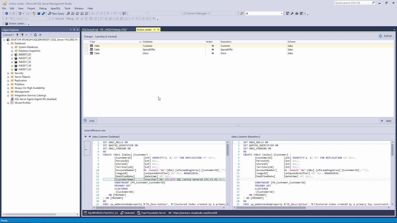Revision history of an object change in a SQL database using