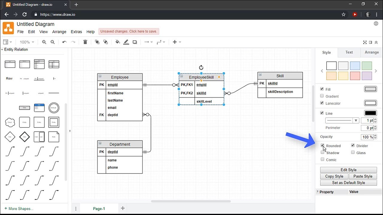 Creating Entity Relationship Diagrams Using Draw Io Youtube