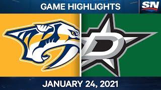 NHL Game Highlights | Predators Vs. Stars - Jan. 24, 2021