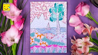 Как нарисовать пейзаж фломастерами - урок рисования для детей от 4 лет, рисуем дома поэтапно(Дети рисуют пошагово, пейзаж, море, фломастеры. Подписывайся на Мир Дизайна - https://vk.com/design_is Получи порцию..., 2016-08-13T15:15:05.000Z)