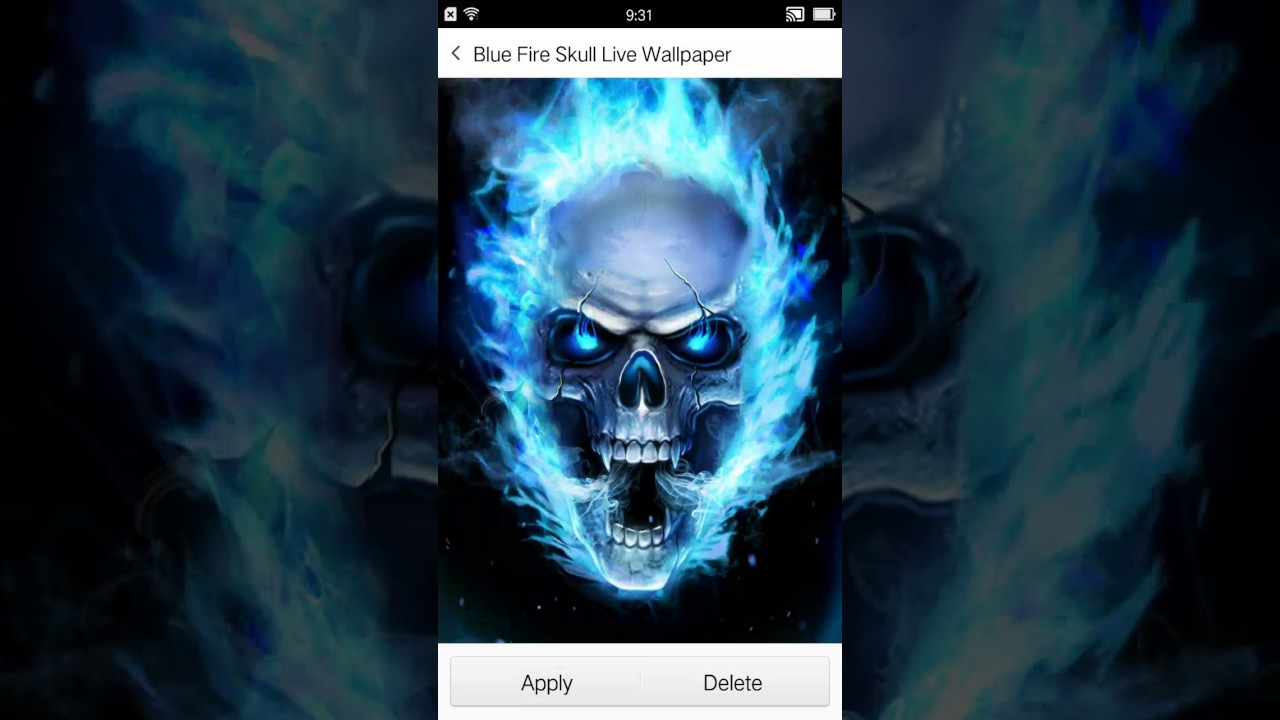 blue fire skull live wallpaper video