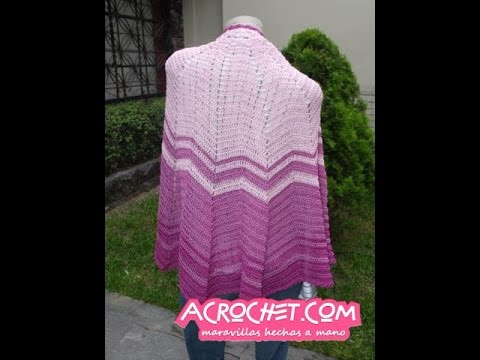 Chal o capa tejido a crochet en punto zig zag simple - YouTube