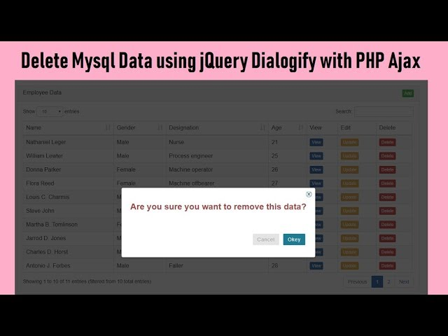 How to Delete Mysql Data using Dialogify with PHP Ajax