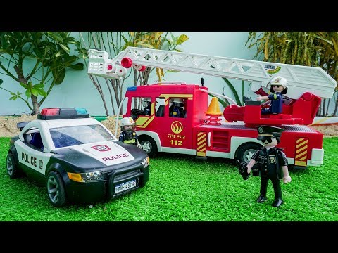 Police Car, Fire Truck, Garbage Truck, Cement Mixer & Dump Trucks - Unboxing Vehicles Toys for Kids