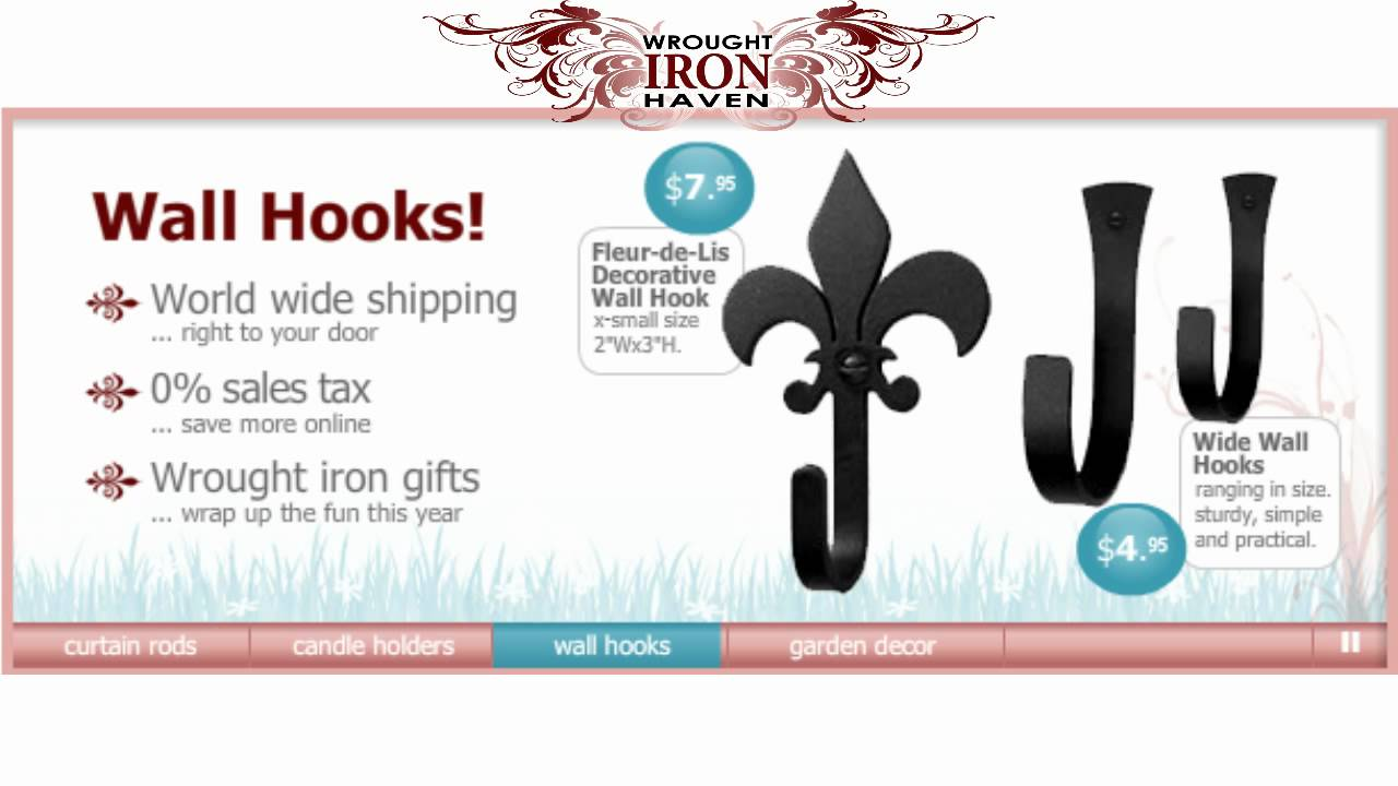 Wrought iron haven video presentation curtain rods candle wrought iron haven video presentation curtain rods candle holders wall hooks garden decor amipublicfo Images