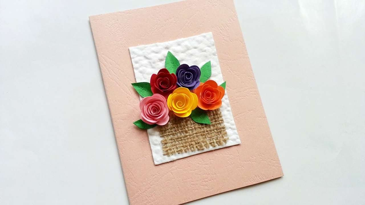 how to create a flower basket greeting card