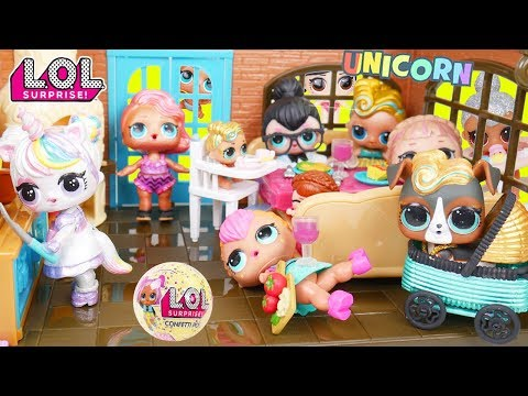 Custom LOL Surprise Doll Hosts Lil Luxe Baby Pets for Lil Sisters + Big Customized DIY Unicorn Bags