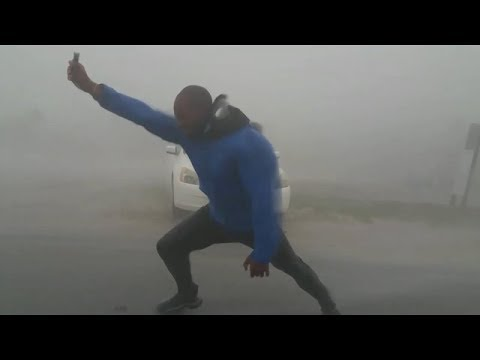 This Man Fights Against the Strong Winds- Man Vs Nature | Hurricane Irma 2017