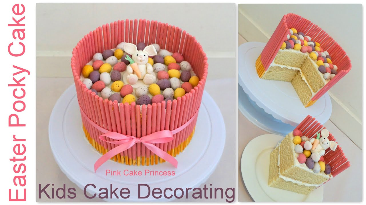 Simple Birthday Cake Decoration At Home : Easter Pocky Cake - Easy Kids Cake Decorating How to - YouTube
