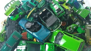 Box Full of Green Cars Welly Hot Wheel Video for kids