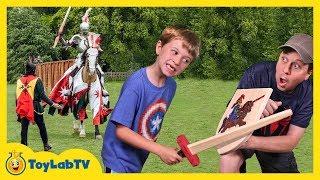 Real Life Battle at Renaissance Family Fun Amusement Park with Mermaid & Aaron vs LB Kids Video