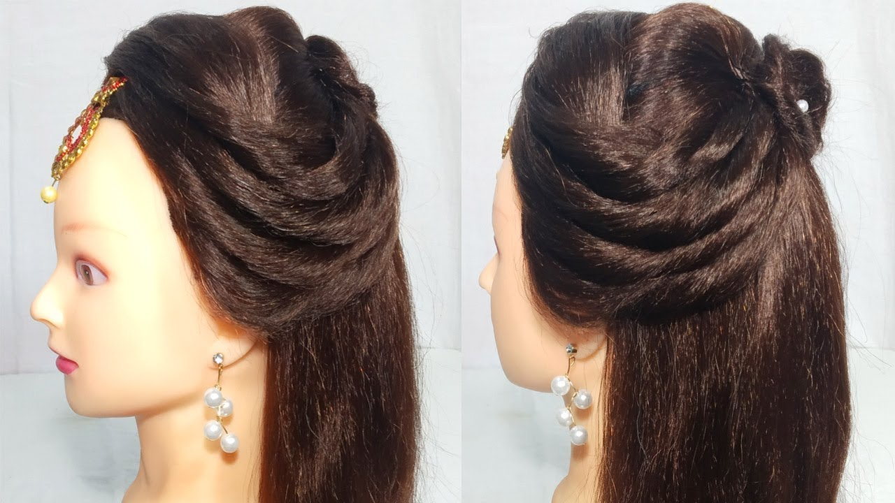 Open hairstyle for party/Wedding | Easy hairstyles for long hair 2019 | hair style girl ...