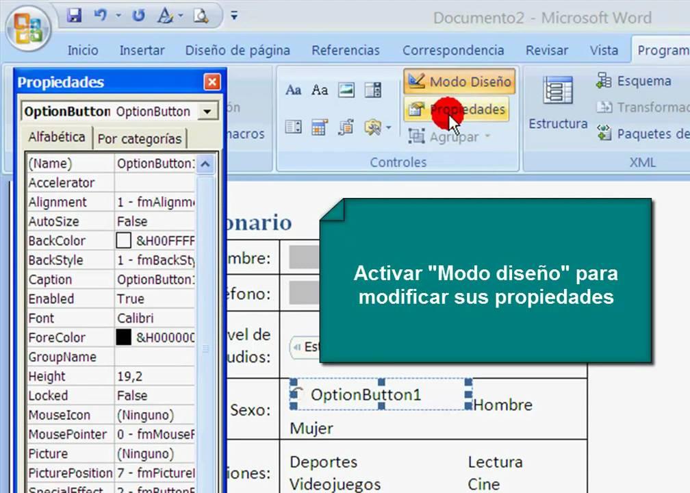 Formularios en Word 2007 - YouTube