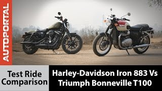Harley-Davidson Iron 883 vs Triumph Bonneville T100 Test Ride Comparison - Autoportal