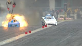 Tommy Johnson Jr. launches his Funny Car body
