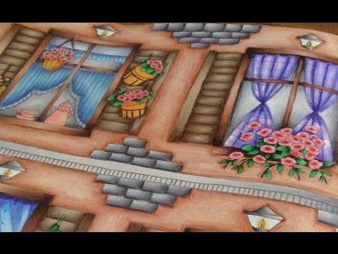 Part 2 - Colored by Julie Bouve - romantic country coloring book - prismacolor pencils