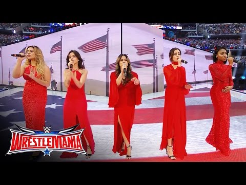 "Fifth Harmony sings ""America the Beautiful"": WrestleMania 32, April 3, 2016"