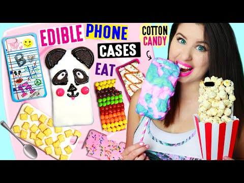 DIY EDIBLE Phone Cases Using Edible Paper, Cereal, Popcorn, Cotton Candy | EAT iPhone Cases!