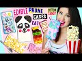 DIY EDIBLE Phone Cases Using Edible Paper, Cereal, Popcorn, Cotton Candy   EAT iPhone Cases!