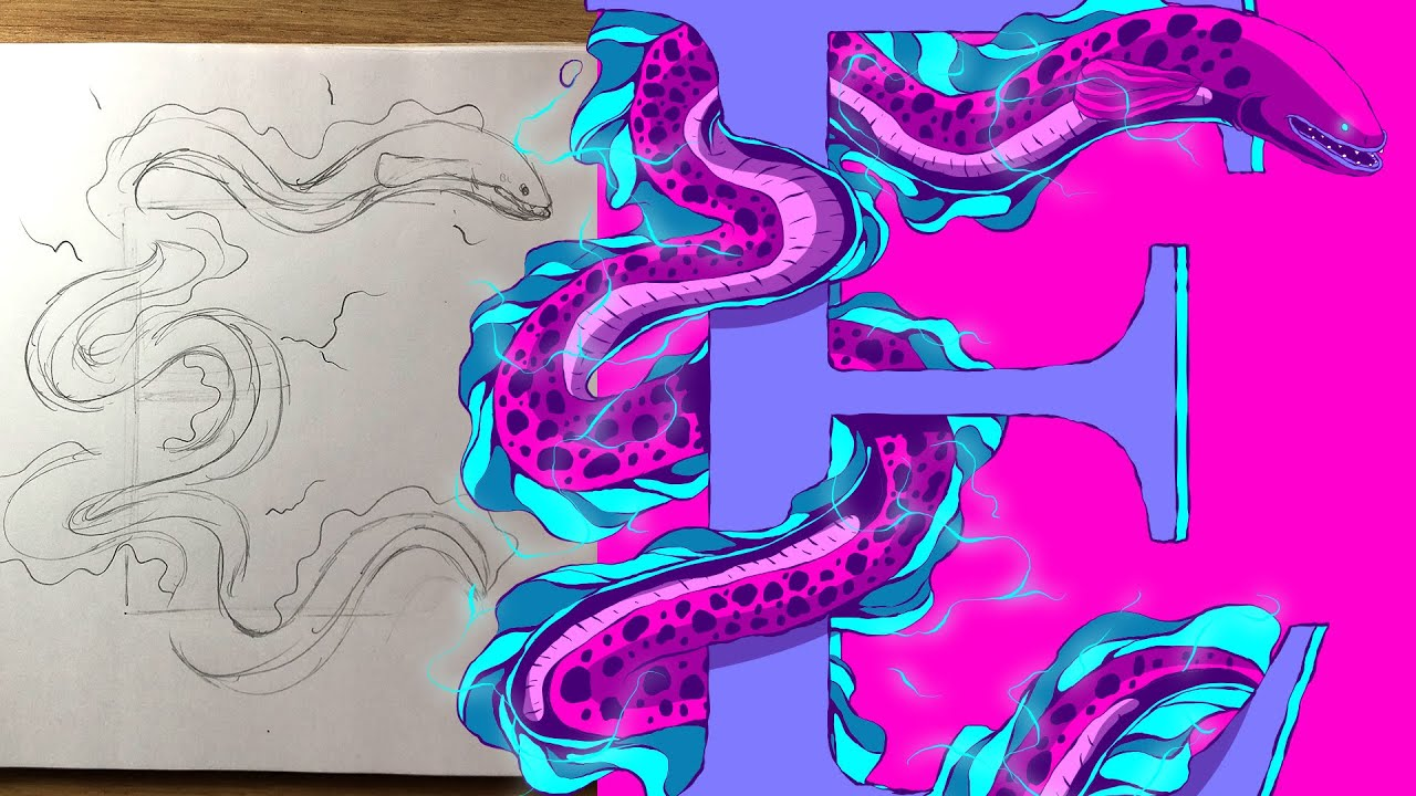 Electric Eel Illustration - From a Rough Sketch on Paper ... - photo#32