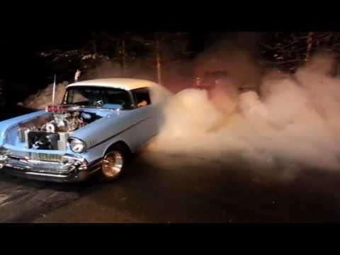 Supercharged Big Block 57 Chevy Bel Air Monster Burnout