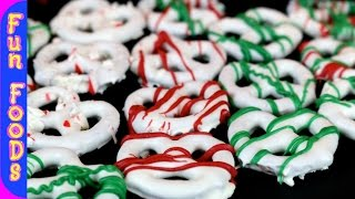Chocolate Covered Christmas Pretzels | Christmas Recipes by FunFoodsYT