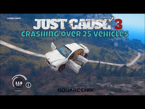 Just Cause 3 Crashing over 25 vehicles off the biggest jump in Sancte Malco