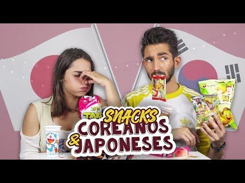 EXPERIMENTANDO SNACKS JAPONESES E COREANOS c/ Angie Costa | Paulo Sousa