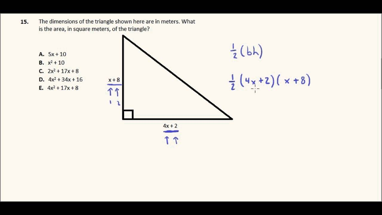 Act Math Practice, Question 15: Binomial Area Of A Triangle
