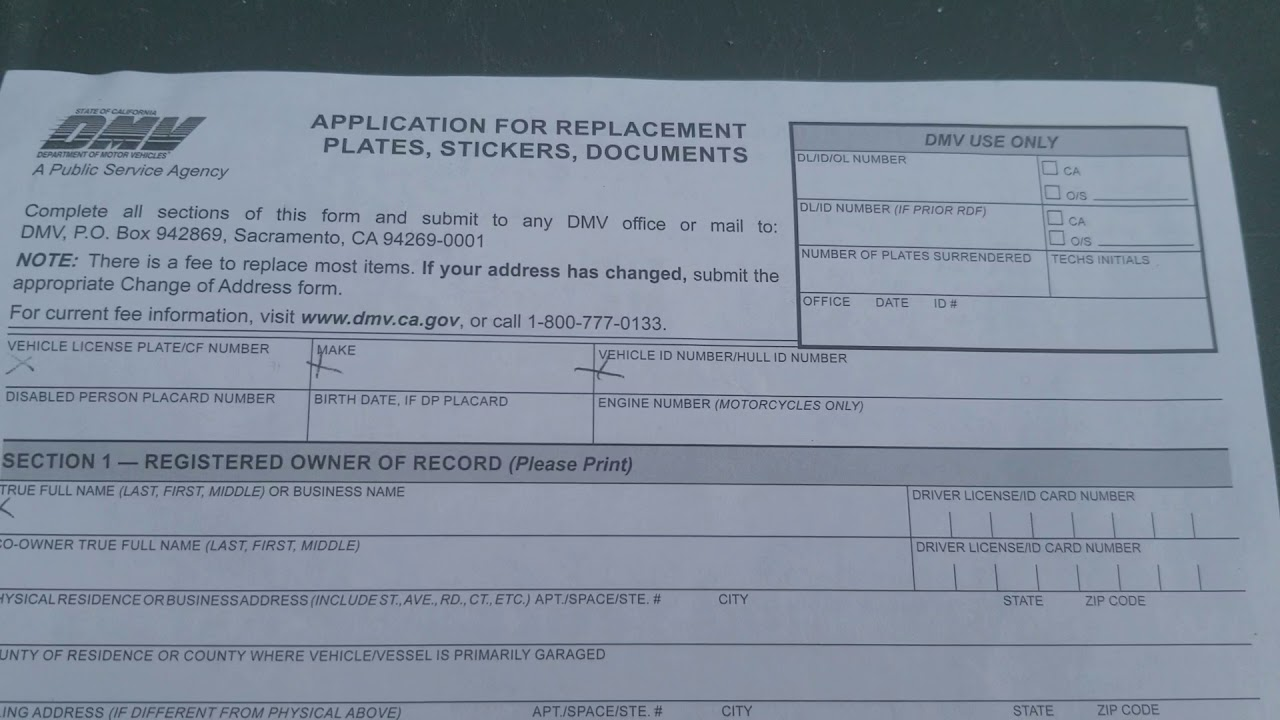 Replacement Registration Card