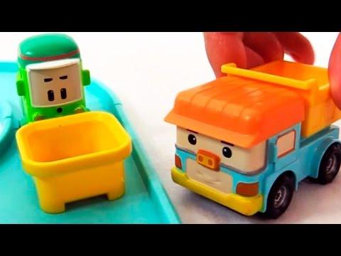 Мультфильм из Игрушечных Машинок: Робокар Поли, Клини, Дампи - перерабатывающая станция